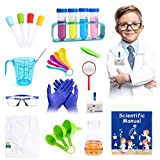 INKPOT 28pcs Science Kits for Kids, Pretend Play Science Lab Kits with Experiment Coat,STEM Learning Dress Up Set ,Educational Kids Scientist Costume Gift Toy for Boys Age 3 4 5 6 7 8 9 10 11 12