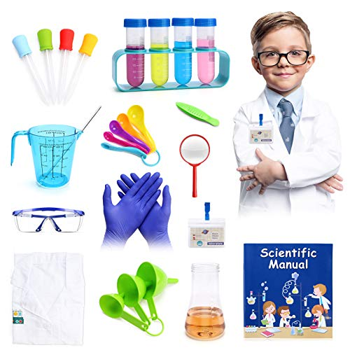 28pcs Science Lab Kit for Kids Boys 8-12,INKPOT Pretend Play Science Experiment with Lab Coat DIY STEM Learning Boy Dress up Kits ,Educational Kids Scientist Costume Gift Toy for Boys Age 5 6 7 8 9 10