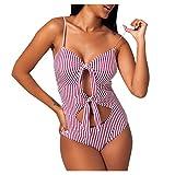 Cczxfcc V-Neck BandageStripe Print Hollow Out Bathing Suit Bow Tie Front 1Piece High Waist Swimsuit Off-Shoulder Swimsuit Push Up-Red_S