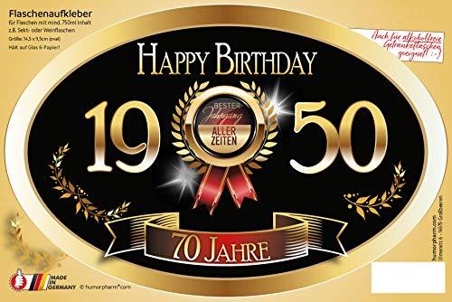 """""""Bester Jahrgang - 70 Jahre - Happy Birthday"""" Aufkleber Sektflasche Weinflasche selbstklebend"""
