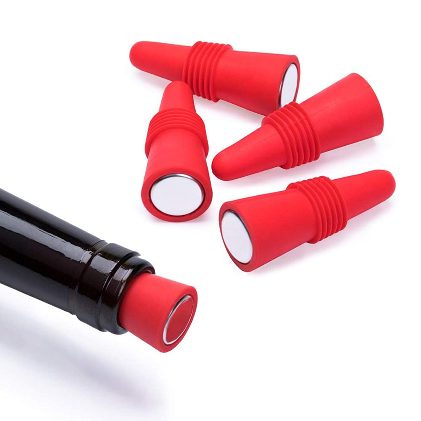 OHMAXHO Wine Stoppers (Set of 5), Silicone Reusable Wine Bottle stopper and Beverage Bottle Stoppers, Red