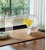 (Flat Packed) Waterfall Acrylic Laptop Stand Table,Clear Bed Breakfast Table/Occasional Side Small Tables