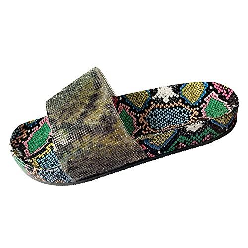Sandalias Mujer Verano 2021 con Plataforma Flops Chanclas Cómodas Zapatillas Señoras Verano Zapatos Antideslizantes Casuales Pantuflas con Estampado de Serpiente