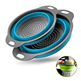 Basket Collapsible Colander Set of 2 Round Silicone Kitchen Strainer Set - 1 large 1 small Perfect for Draining Pasta, Vegetable and fruit (blue)