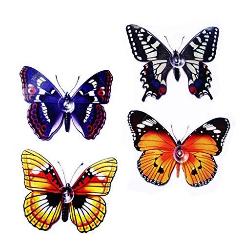 Schmetterlinge, mit Saugnäpfen, passend für alle Glasoberflächen und Spiegel, 9 x 7 cm, 4 Stück