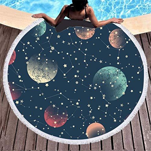 GermYan Mandala Space 3D Toalla de Playa Redonda de Microfibra Impresa Digital con Borla Toalla de baño