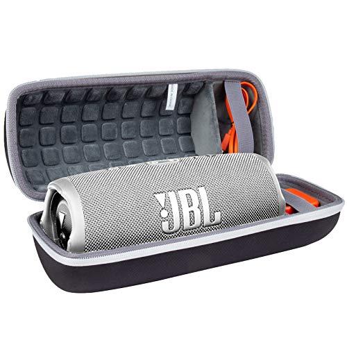Hart Reise Schutz Hülle Etui Tasche für JBL Charge 4 / JBL Charge 5 Tragbarer Bluetooth Lautsprecher von co2CREA (Schwarz Hülle/Innen Grau, Weißer Reißverschluss)