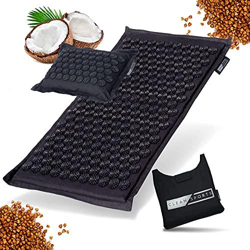 CLEAN SPORTS® Akupressurmatte mit Kissen und Tasche - Massagematte aus 100% Leinen, Baumwolle, Kokosfaser und Buchweizenschalen - Akupunkturmatte zur...