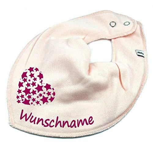 Elefantasie HALSTUCH Herz Sterne mit Namen oder Text personalisiert rosa für Baby oder Kind
