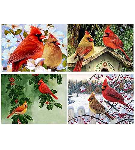 SanerDirect 4 Packs DIY 5D Diamond Painting, Cardinals Bird Round Full Drill Diamond Painting for Home Wall Decor (12x16 inch)