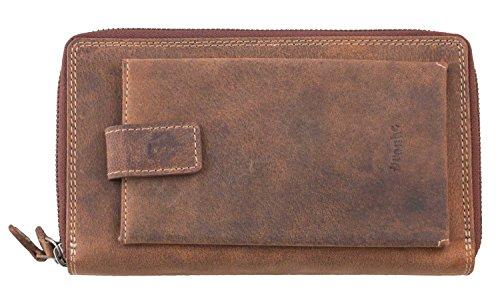 Pranke Damen Leder Geldbörse Groß Portemonnaie Antik Vintage Braun