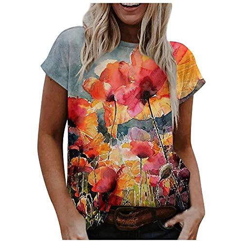 Camiseta para mujer de talla grande, con estampado de flores, cuello redondo, moda informal, diente de león, multicolor, rosa, naranja, azul, lila, amarillo, gris, verde, blanco, negro, S-2XL gris L