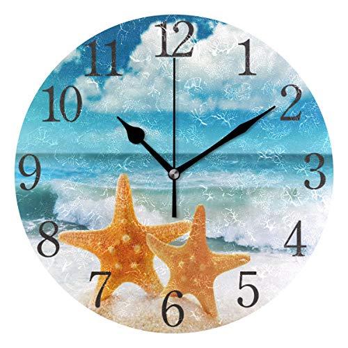 ISAOA Moderne Wanduhr, 23 cm, Strand, Gitarre, Palme, leise, nicht tickende runde Schreibtischuhr, Würfel-Uhr für Schlafzimmer, Kinder, Wohnzimmer, Küche Modern mehrfarbig 3