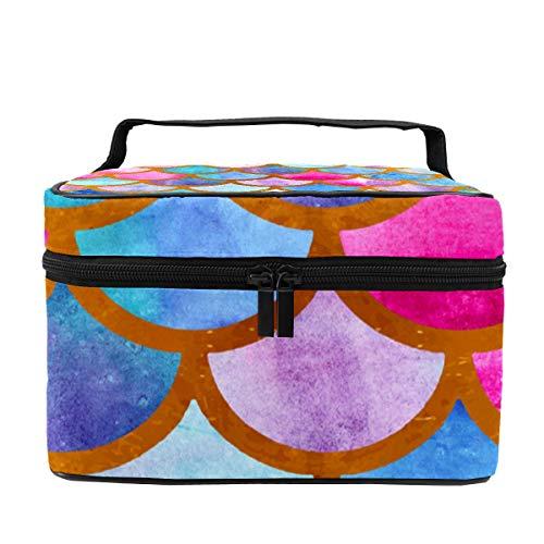 Make-up-Tasche für Damen, Kosmetikkoffer, Organizer, Meerjungfrau, Fische, bunte Schuppen, multifunktional, Reise, tragbare Aufbewahrungstasche für Pinsel, Toilettenartikel, Schmuck