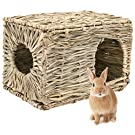 PAWCHIE Grass House for Rabbits, Guinea Pigs, Natural Seagrass Hand Woven Folding for Small Animals