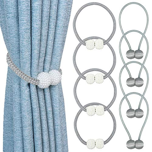 8 Pack Magnetic Curtain Tiebacks Pearl Style and Globe Drapery Holdbacks Strong and Durable Window Convenient Decorative Weave Rope Perfect for Home Office Bathroom Decoration Use(Grey)