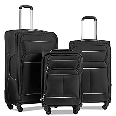 Luggage Set 3 Piece Luggage Lightweight Soft Shell Spinner Suitcase Set (Black&Silver)