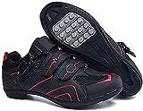 Scarpe da Ciclismo Scarpe da Strada E Mountain Bike in Fibra di Carbonio Antiscivolo E Traspiranti, Sneakers A Strisce Riflettenti (43,Rosso)