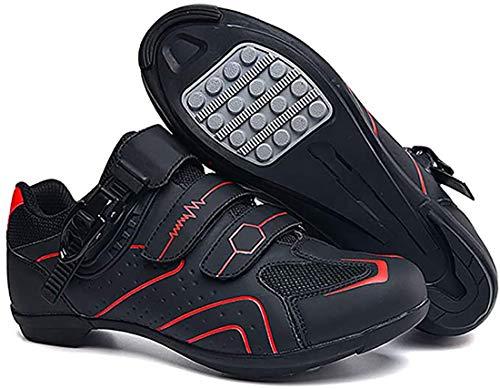 Cool-CZQ Fahrradschuhe rutschfeste Und Atmungsaktive Straßen- Und Mountainbike-Schuhe Aus Kohlefaser, Reflektierende Gestreifte Turnschuhe (44,Rot)