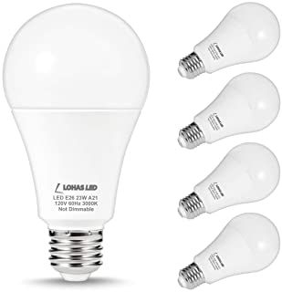 LOHAS 150W-200Watt Equivalent LED Light Bulbs, A21 LED 23W Bulbs, Soft White 3000K LED Lights 2500LM High Lumen, E26 Base Super Bright Incandescent Bulb Replace for Home Lighting, Non-Dimmable, 4Pack