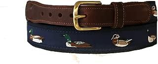 Men's Preston Leather Ribbon Navy Blue Waterfowl Ducks Geese Mallard Belt