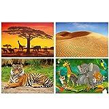 GREAT ART® Set mit 4 Kinder-Poster – Safari Tiere –