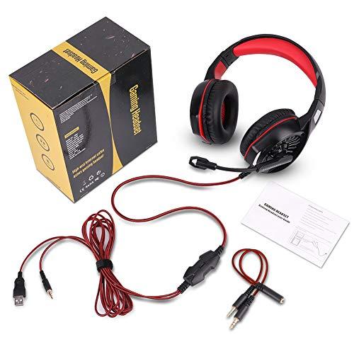 Gaming Kopfhörer Headset für PS4 PC Xbox One, LED RGB Licht Crystal Clarity Sound Professional Kopfhörer mit Mikrofon von ELEHOT (rot)