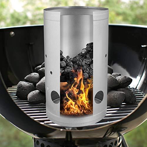 ASAB Barbecue BBQ Chimney Starter Quick Start Charcoal Burner Fire Lighter Coal Food Summer Garden Party (Medium)