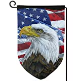 YIEASY Home Garden Flags, American National Flag and Eagle Garden Flags,Novelty Flag Banners 12.5' X 18'/32 X 45.7cm for Welcome Decoration (color 1)
