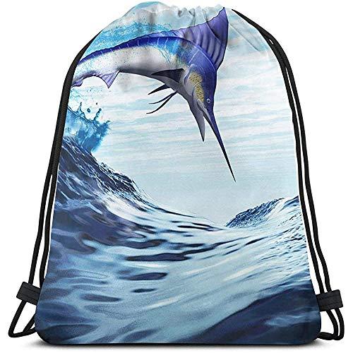 Gym Drawstring Bags, Sailfish Tote Rucksack Sackpack Gym Sack Bag zum Wandern Yoga Phone Aufbewahrungstasche