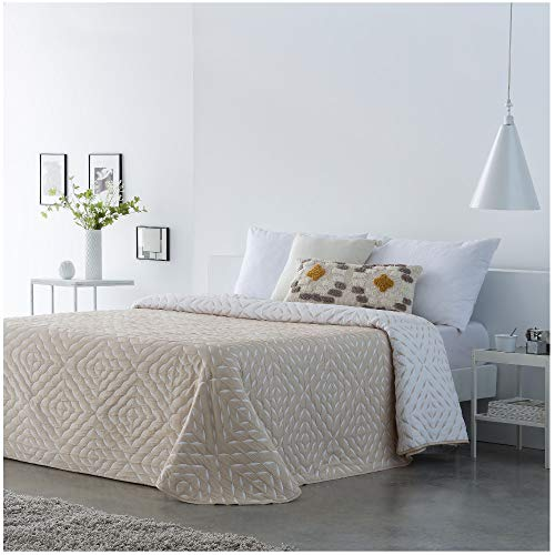 COTTON ARTean Colcha de Verano SUANCES Beige Natural - Reversible Cama de 180