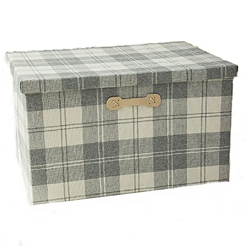 Caja de almacenamiento plegable,cubos de almacenamiento de tela con asas,caja de almacenamiento premium con tapa para el hogar, oficina,ropa,edredón,contenedores organizadores de juguetes, Plaid-XL