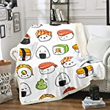 Sushi Pattern Blanket Japanese-Style Fleece Blanket for Couch Travel Sofa Teens Food Theme Sherpa Blanket Cute Cartoon Japanese Sushi Plush Throw Blanket Room Decor Air Conditioning Baby 30'x40'