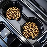 Car Coasters for Drinks Absorbent, Cute Car Coasters for Women, ar Cup Holder Coasters for Your Car with Fingertip Grip, Auto Accessories for Women & Lady,Pack of 2 (Leopard-1)