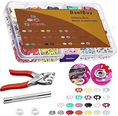 BSET BUY Juego de 200 botones de presión huecos, de 9,5 mm, para ropa de bebé, manualidades de costura (multicolor)