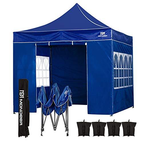 Mondeer Pavillon,3 x 3 m,Faltpavillon,wasserdichte PU-Beschichtung,Hochleistungsstahlrahmen, mit 4 Sandsäcken, Seitewände und Tragetasche, geeignet für Hochzeiten im Freien, Gartenpartys (Blau)