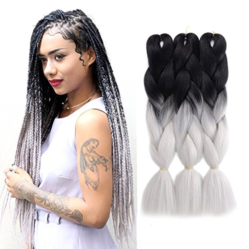"Ombre Jumbo Braid Hair Extensions 24"" 3Pcs/Lot 100g/Pc High Temperature Kanekalon Synthetic Fiber for Twist Braiding Hair(Black To Grey)"