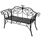 HLCベランダベンチ ガーデンベンチ アイアン (黒色)