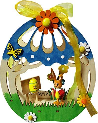 yanka-style Pasqua LED decorazione della stanza decorazione per finestra Easter Bunny in legno illuminato CA. 15x 4,5x 18,5cm Primavera Decorazione Statuetta (75732a)