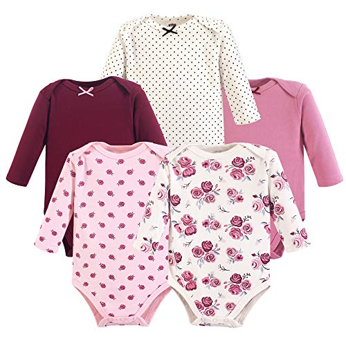 Hudson Baby Unisex Baby Cotton Long-sleeve Bodysuits, Rose, 9-12 Months