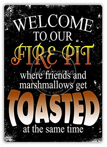 Lorenzo Welcome To Our Fire Pit Vintage Metal Iron Painting Plaque Poster Warning Sign Living Room Cafe Bar Beer Club Party Christmas Wedding Decoration
