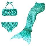 Disfraz de Sirena Infantil 3 Piezas Traje De Baño para Niña Bikini Set Cola de Sirena/120