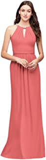 Crepe Halter Bridesmaid Dress with Beaded Neckline Style F19672