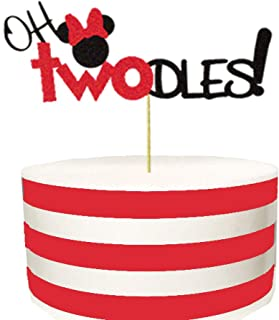 Oh Twodles Minnie Mouse Cake Topper,Second 2nd Birthday Party Supplies Decorations for Baby Girl(Red)