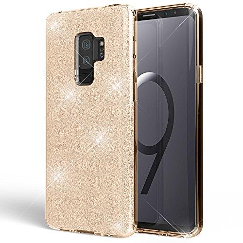 NALIA Handyhülle kompatibel mit Samsung Galaxy S9 Plus, Glitzer Ultra-Slim Silikon-Hülle Back-Cover Schutz, Glitter Sparkle Handy-Tasche Bumper, Dünnes Bling Strass Phone Etui, Farbe:Gold