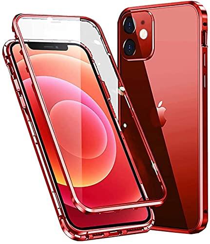 Funda Cristal Templado para iPhone 11,Estructura de Metal de adsorción magnética,[con Protector de cámara] Protección de 360 Grados Funda Carcasa Transparente para Apple iPhone 11 6.1'',Rojo