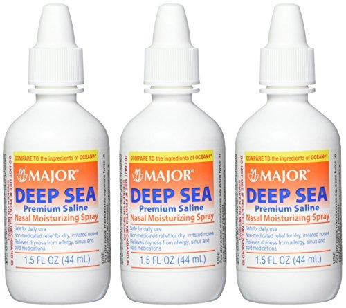 Major Pharmaceuticals Deep Sea Generic for Ocean Nasal Moisturizing Spray 1.5 Fl Oz, Pack of 3