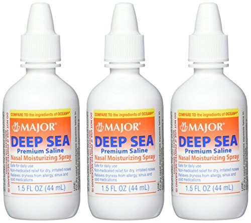top 10 saline nasal spray Major Pharmaceuticals Deep Sea Generic for Ocean Nasal Moisturizing Spray 1.5 fl oz, 3 packs