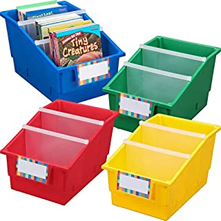 Really Good Stuff Large Plastic Labeled Book and Organizer Bin for Classroom or Home Use – Sturdy Plastic Book Bins in Fun Primary Colors – (Set of 4)
