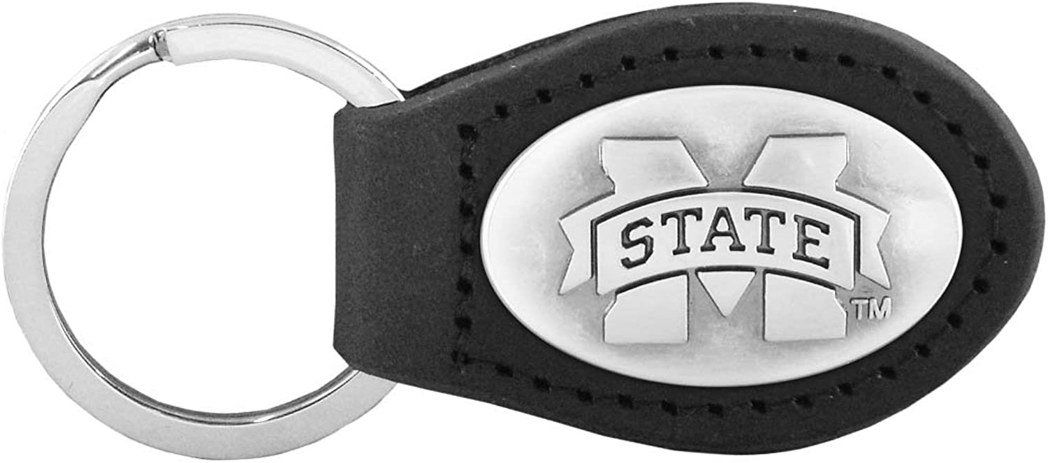 NCAA Mississippi State Bulldogs ZepPro Leather Concho Key Fob, Black